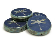 17mm Opaque Navy Blue Picasso Czech Table Cut Dragonfly Coin Beads (4) #1897