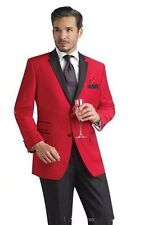 Red Jacket Groomsmen Suits Groom Tuxedos Black Notch Lapel Best Man Wedding Suit
