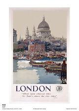 Londres St Paul's Cathedral Vintage Retro cartel de viaje ferroviaria arte publicitario