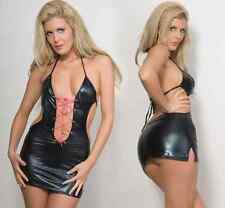 Black Lace Up,,Clubwear, PVC, wet look Mini dress one size fits 8/10/12....