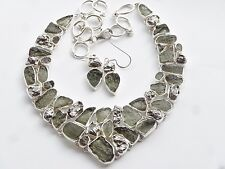 "METEORITE & MOLDAVITE 925 STERLING SILVER NECKLACE & EARRINGS, 15"" - 18"" LONG"