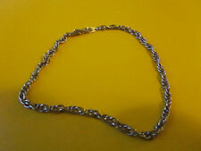 "Thin Silver Grey Metal Twisted Chain Bracelet - 7.5"" long"