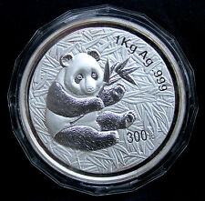 2000 CHINA SILVER PANDA 300 YUAN PROOF KILOGRAM 1 KILO, LOW MINTAGE OF 2000!