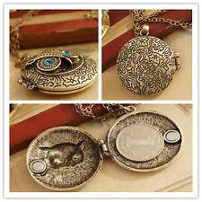 Hot Sell ~Women Men Vintage Brass Owl Locket Blue Zircon Eye Pendant Necklace 1p