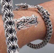 """10"""" 50g DOUBLE DRAGON SNAKE HANDMADE WOVEN 925 STERLING SILVER MENS BRACELET"""