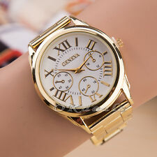 New Luxury Geneva Women Lady Gold Stailess Steel Roman Analog Quartz Wrist Watch