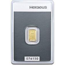 Lingot or 1 gramme or pur 24 carats 999/1000 Heraeus gold bar 1 gr