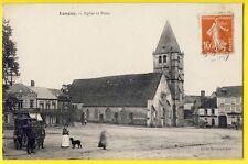 cpa Village de LONGNY au PERCHE (Orne) EGLISE Hôtel St Pierre Gd Bazar Animé