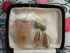 Unusual green jade glass EARRINGS brass filigree Chinese Lantern gardener gift!