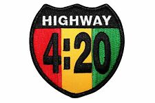 Highway 420 Rastafari Cannabis Marijuana Pot Embroidered Iron On Applique Patch
