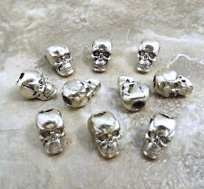 10 Pewter Beads - 7mm SKULL with Vertical 3.5mm Hole- 0437