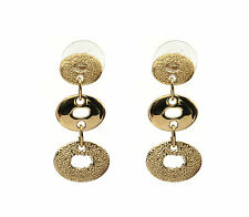 Handmade JenniferLovey Stud Gold Statement Earrings Long 3 Round Circles
