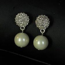 Boucles d`Oreilles Clous Perle Blanche Cristal Retro AncieN Style Soirée DD 4