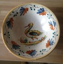 Italian Large Vintage Deruta Bowl with Bird Design Pottery possibly Cantigalli