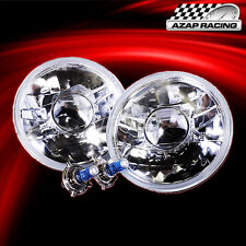 "Brand New Clear 7"" H6024 Round Projector Headlights Head Lamps With Bulbs Pair"