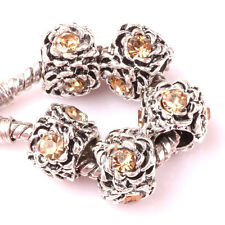 10P Tibetan silver Light yellow CZ spacer beads Charm European Bracelet #Z081