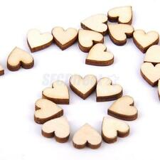 200 Plain Wooden Love Heart Shapes DIY Art Craft Cardmaking Decoration 10mm