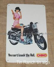 retro CHIKO ROLL tin SIGN vintage advert MILK BAR Australian girl Vincent Bike