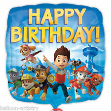 "18"" Paw Patrol Puppy Pets Children's Happy Birthday Party Square Foil Balloon"