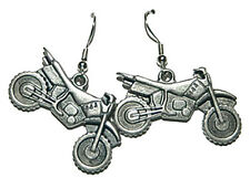 PEWTER MOTORCYCLE DANGLE EARRINGS (D277)