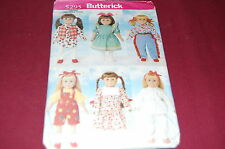 """Butterick Pattern #5295 - Girl 18"""" Doll Clothes -Wardrobe - Six Outfits"""
