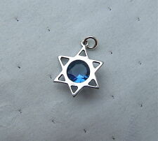 LOVELY STAR OF DAVID BLUE CRYSTAL JEWISH CHARM PENDANT 925 STERLING SILVER
