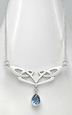 """18"""" Solid Sterling Silver Celtic- Style Blue Topaz Necklace BEAUTIFUL"""