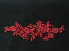 A Red bridal cord floral lace Applique / lace motif for sale.Sold by piece