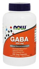 Now Foods, GABA 500 mg Natural Calming Effect, 200 Capsules Promotes Relaxation
