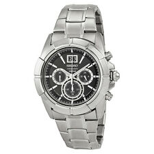 Seiko Chronograph Black Dial Stainless Steel Mens Watch SPC099