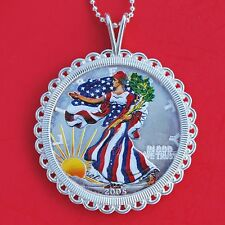2005 US 1 Oz .999 Silver American Eagle Colorized Coin Sterling Silver Necklace