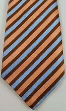 KITON Mens NECKTIE Striped VIBRANT Multicolor SILK Napoli ORANGE Brown BLUE Tie*