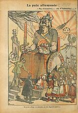 Caricature Guerre Anti Boches Paix Germania Moloch Ukraine WWI 1918 ILLUSTRATION