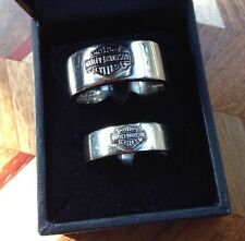 HARLEY DAVIDSON 10KT WHITE GOLD BAND Set Rings Mens & Ladies Wedding 12/8.5