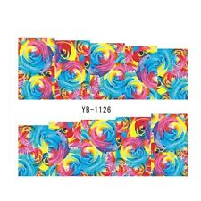 2 Sheets Nail Art Water Transfer Decal Manicure Decor Blue Red Yellow Rose DIY