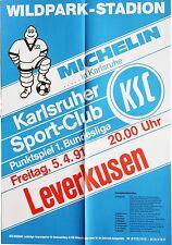 Karlsruher SC KSC Leverkusen 1. Bundesliga 5. April 1991 Plakat Wildpark
