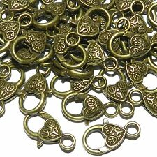MX934p Antiqued Bronze Large 26x13mm Heart Design Lobster Claw Focal Clasp 25/pk