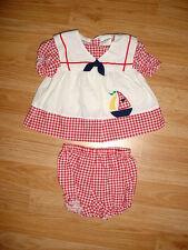 Vtg-Infant Baby Girls doll-Red White Gingham Checked Sailboat Sailor Dress-6-9 m