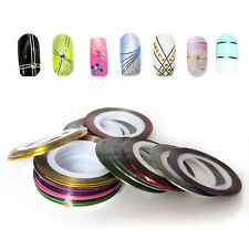 10 Roll Mix Color Striping Tape Line Nail Sticker Nail DIY Kit Nail Art Tip A2