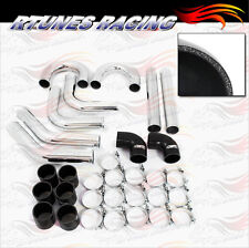 "BLACK 2.5"" Inches 63mm Turbo/Supercharger Intercooler Polish Pipe Piping Kit CH"