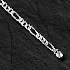 "14k solid WHITE gold  handmade Figaro Curb link mens bracelet 8"" 13 grams 5.25MM"