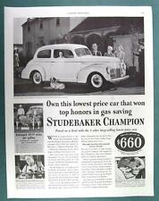 Original 1940 Studebaker Champion Ad  WON TOP HONORS IN GAS SAVINGS