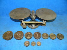 Antique Balance Beam Scale No. 2 with 10 weights - Cast Iron 16 Lb. Heavy Duty