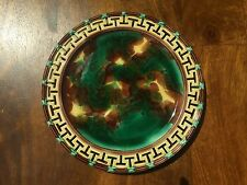 Wedgwood Majolica Plate with Reticulated Rim Greek Key