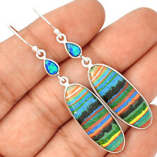 Rainbow Calsilica 925 Sterling Silver Earrings Jewelry SE133626