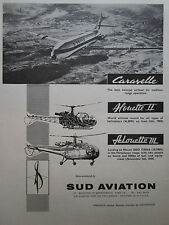 6/1962 PUB SUD AVIATION CARAVELLE UNITED ALOUETTE II III HELICOPTER ORIGINAL AD