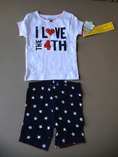 """NEW Carter's Girls 2-Pc """"I Love the 4th"""" of July Pajama Shorts Set 18 months"""