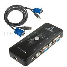 4-Port USB 2.0 KVM Switch with 4 Sets PC1/PC2/PC3/PC4 of Cables for PC Keyboard