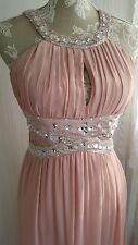 Vtg 1920,s style Gatsby Grecian pink lace beaded wedding prom dress sz 10