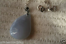 Chalcedony Sterling Silver Pendant Necklace Clasp Stone Fashion Gemstone Crystal
